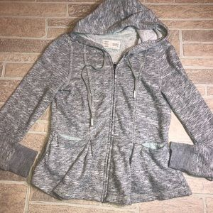 Saturday Sunday anthro Hooded zip gray medium